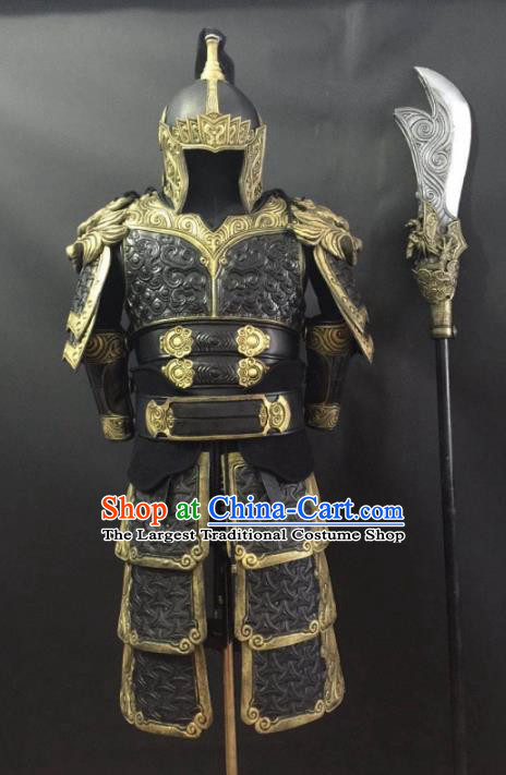 Traditional Chinese Han Dynasty General Body Armor Outfits Ancient Film Warrior Armour Soldier Costumes and Headwear Full Set