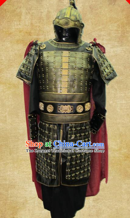 Traditional Chinese Three Kingdoms Period Soldier Leather Body Armor Outfits Ancient Film Military Officer Armour Warrior Costumes and Headwear Full Set