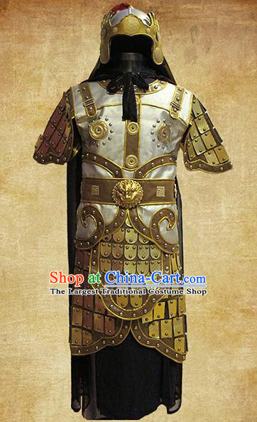 Traditional Chinese Three Kingdoms Period Young Soldier Golden Body Armor Outfits Ancient Film Warrior Armour Costumes and Headwear Full Set