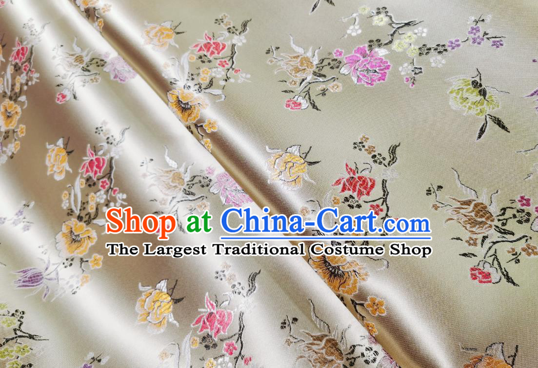 Asian Chinese Traditional Pomegranate Flowers Pattern Design White Brocade Silk Fabric Tang Suit Tapestry Satin Material
