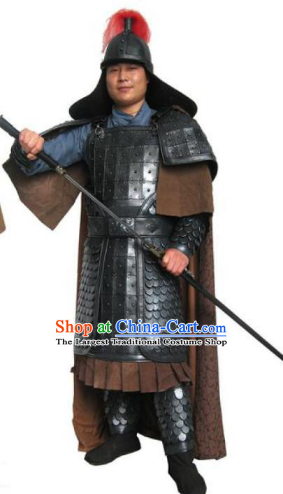 Traditional Chinese Han Dynasty Warrior Black Body Armor Outfits Ancient Film General Armour Costumes and Headwear Full Set
