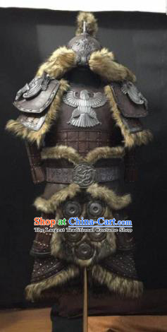 Traditional Chinese Yuan Dynasty Warrior Body Armor Outfits Ancient Film General Fur Armour Costumes and Headwear Full Set