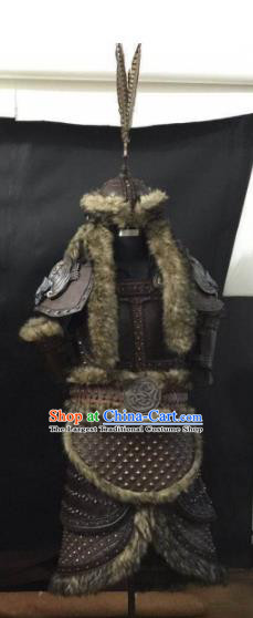 Traditional Chinese Song Dynasty Warrior Body Armor Outfits Ancient Film Liao Dynasty General Fur Armour Costumes and Headwear Full Set