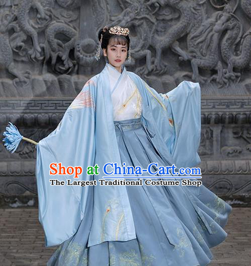 Chinese Ancient Empress Hanfu Garment Costumes Han Dynasty Noble Queen Embroidered Blue Cape Blouse and Skirt Complete Set