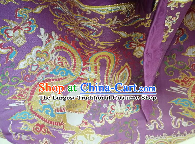 Top Quality Chinese Classical Dragon Pattern Purple Blended Material Traditional Asian Traditional Curtain Jacquard Cloth Fabric
