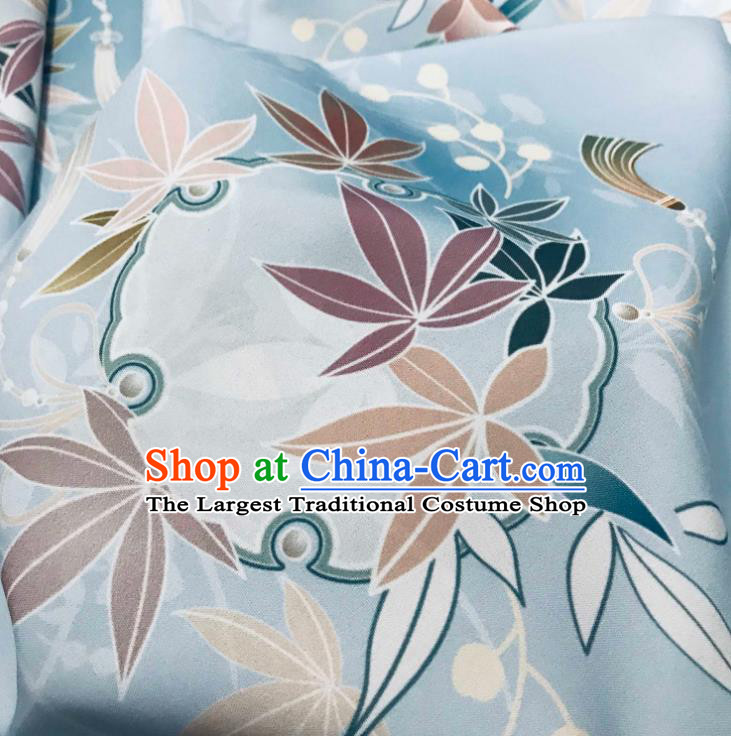 Chinese Hanfu Dress Traditional Bamboo Leaf Pattern Design Blue Satin Fabric Silk Material Traditional Asian Tapestry