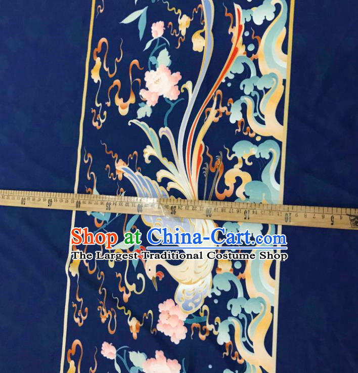 Chinese Hanfu Dress Traditional Phoenix Peony Pattern Design Navy Satin Fabric Silk Material Traditional Asian Tapestry