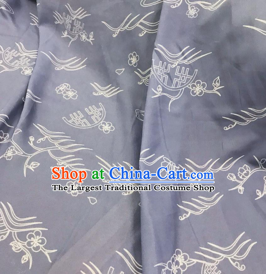 Chinese Hanfu Dress Traditional Plum Pattern Design Grey Satin Fabric Silk Material Traditional Asian Linen Tapestry