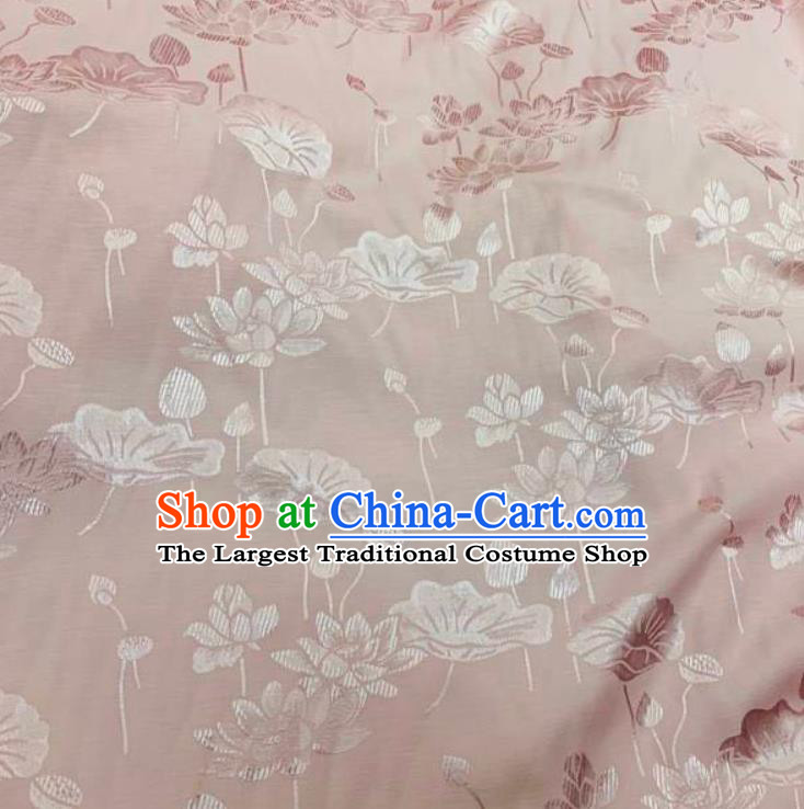Chinese Hanfu Dress Traditional Lotus Pattern Design Pink Crepe Fabric Silk Material Traditional Asian Linen Tapestry