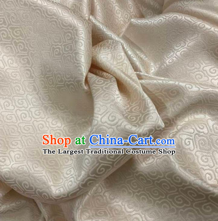 Chinese Hanfu Dress Traditional Cloud Pattern Design Beige Satin Fabric Silk Material Traditional Asian Brocade Tapestry