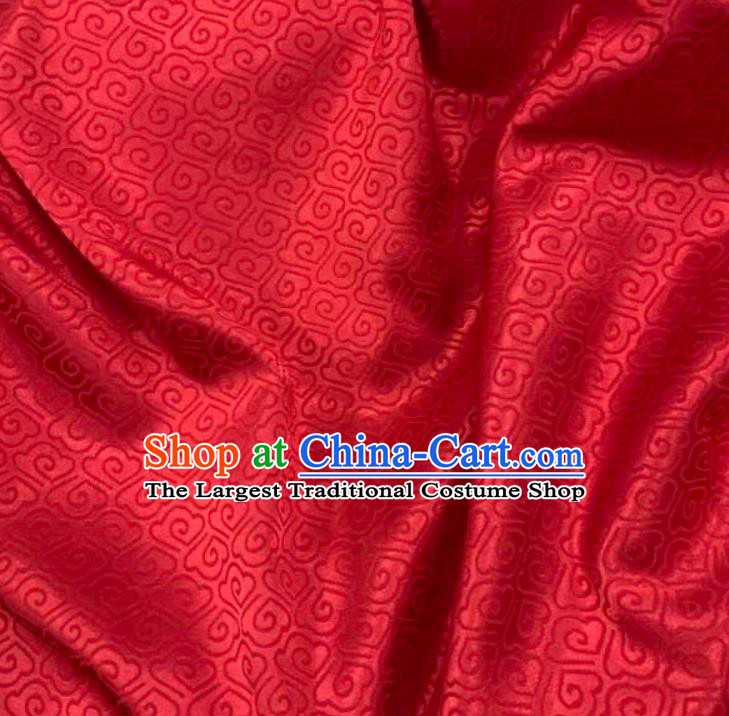Chinese Hanfu Dress Traditional Cloud Pattern Design Red Satin Fabric Silk Material Traditional Asian Brocade Tapestry
