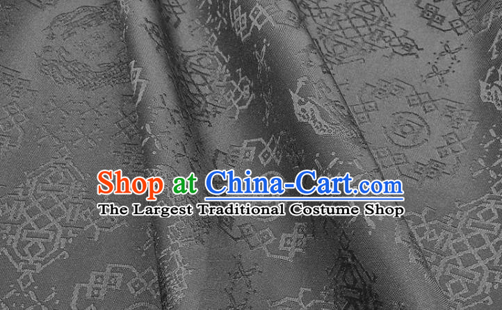 Chinese Hanfu Dress Traditional Dragon Pattern Design Black Satin Fabric Silk Material Traditional Asian Cloth Tapestry