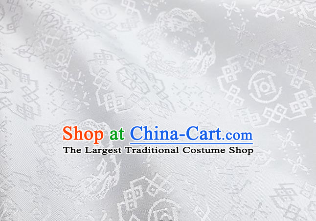 Chinese Hanfu Dress Traditional Dragon Pattern Design White Satin Fabric Silk Material Traditional Asian Cloth Tapestry