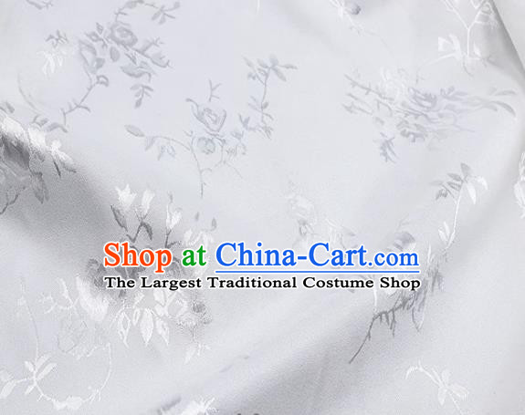 Chinese Hanfu Dress Traditional Roses Pattern Design White Satin Fabric Silk Material Traditional Asian Cloth Tapestry