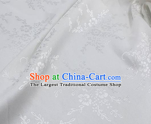 Chinese Hanfu Dress Traditional Camellia Pattern Design White Satin Fabric Silk Material Traditional Asian Cloth Tapestry