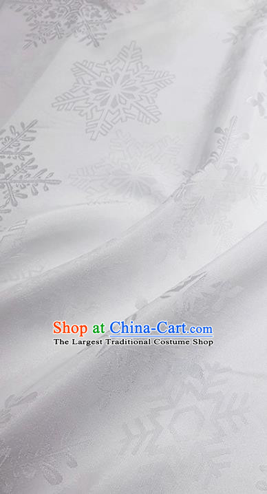 Chinese Hanfu Dress Traditional Snowflake Pattern Design White Satin Fabric Silk Material Traditional Asian Cloth Tapestry