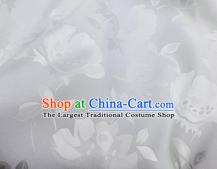 Chinese Traditional Camellia Pattern Design White Satin Fabric Silk Material Traditional Asian Hanfu Dress Cloth Tapestry