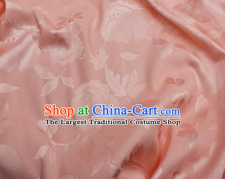 Chinese Traditional Camellia Pattern Design Pink Satin Fabric Silk Material Traditional Asian Hanfu Dress Cloth Tapestry