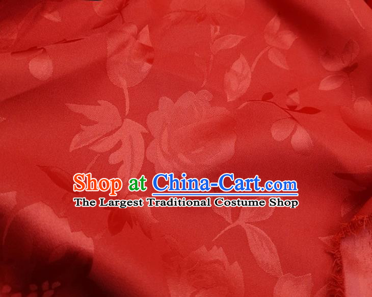 Chinese Traditional Camellia Pattern Design Red Satin Fabric Silk Material Traditional Asian Hanfu Dress Cloth Tapestry