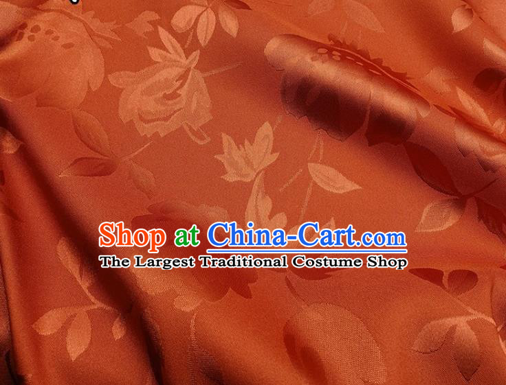 Chinese Traditional Camellia Pattern Design Orange Satin Fabric Silk Material Traditional Asian Hanfu Dress Cloth Tapestry