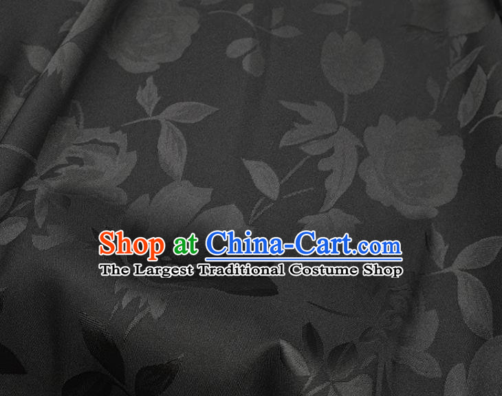 Chinese Traditional Camellia Pattern Design Black Satin Fabric Silk Material Traditional Asian Hanfu Dress Cloth Tapestry