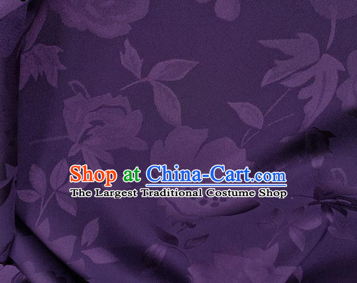 Chinese Traditional Camellia Pattern Design Purple Satin Fabric Silk Material Traditional Asian Hanfu Dress Cloth Tapestry