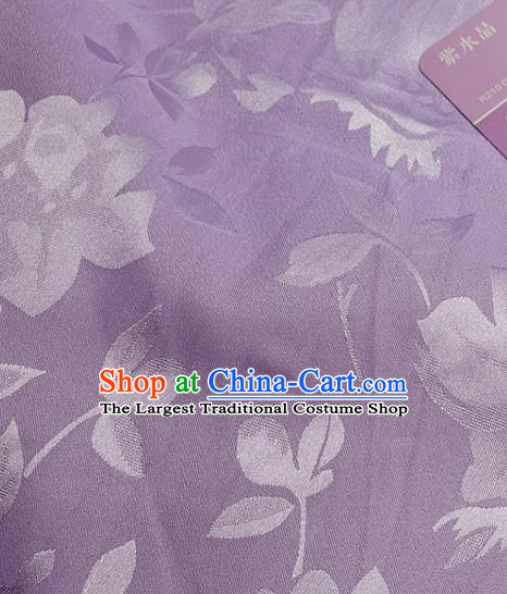 Chinese Traditional Camellia Pattern Design Lilac Satin Fabric Silk Material Traditional Asian Hanfu Dress Cloth Tapestry