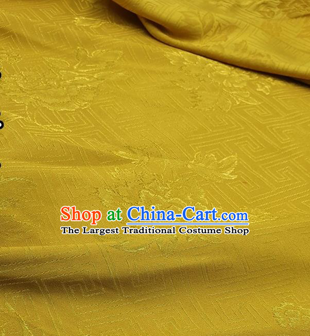 Chinese Traditional Peony Pattern Design Yellow Satin Fabric Traditional Asian Hanfu Dress Cloth Tapestry Silk Material