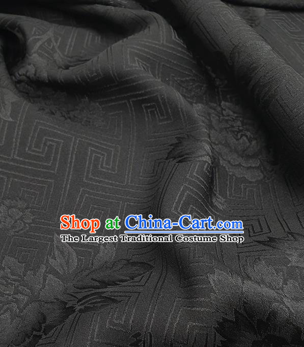 Chinese Traditional Peony Pattern Design Black Satin Fabric Traditional Asian Hanfu Dress Cloth Tapestry Silk Material