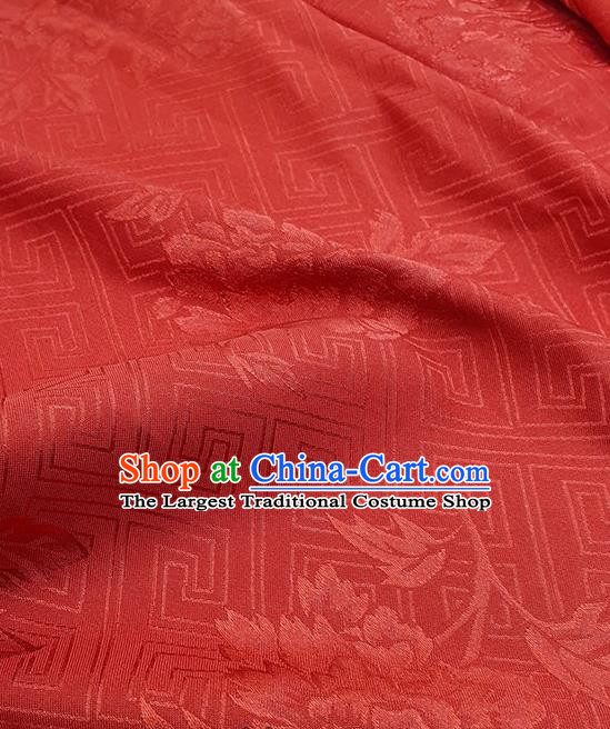Chinese Traditional Peony Pattern Design Red Satin Fabric Traditional Asian Hanfu Dress Cloth Tapestry Silk Material