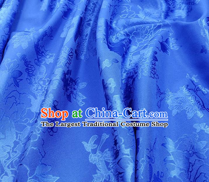 Top Quality Chinese Traditional Azalea Pattern Design Royalblue Satin Fabric Traditional Asian Hanfu Dress Cloth Silk Material Jacquard Tapestry