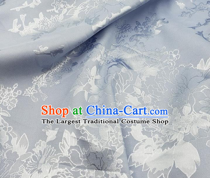 Top Quality Chinese Traditional Azalea Pattern Design Light Blue Satin Fabric Traditional Asian Hanfu Dress Cloth Silk Material Jacquard Tapestry