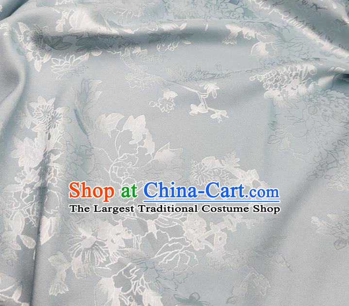 Top Quality Chinese Traditional Azalea Pattern Design Gray Satin Fabric Traditional Asian Hanfu Dress Cloth Silk Material Jacquard Tapestry