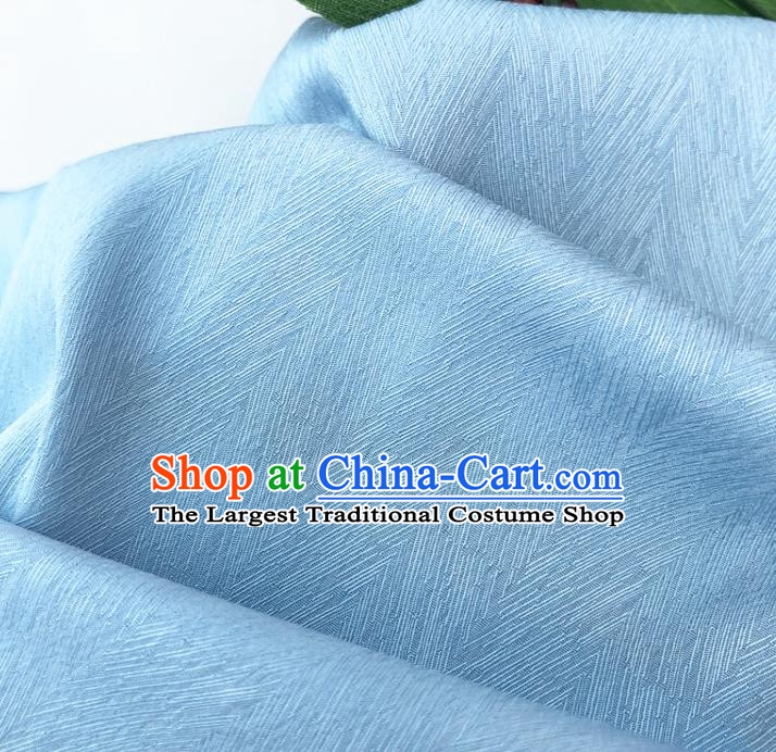Top Quality Chinese Light Blue Satin Fabric Traditional Asian Hanfu Dress Cloth Silk Material Traditional Jacquard Tapestry