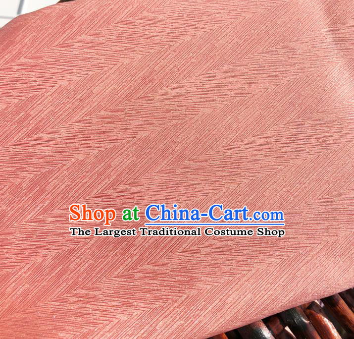 Top Quality Chinese Peach Pink Satin Fabric Traditional Asian Hanfu Dress Cloth Silk Material Traditional Jacquard Tapestry