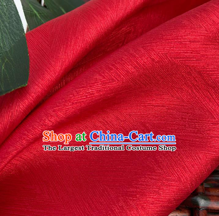 Top Quality Chinese Red Satin Fabric Traditional Asian Hanfu Dress Cloth Silk Material Traditional Jacquard Tapestry