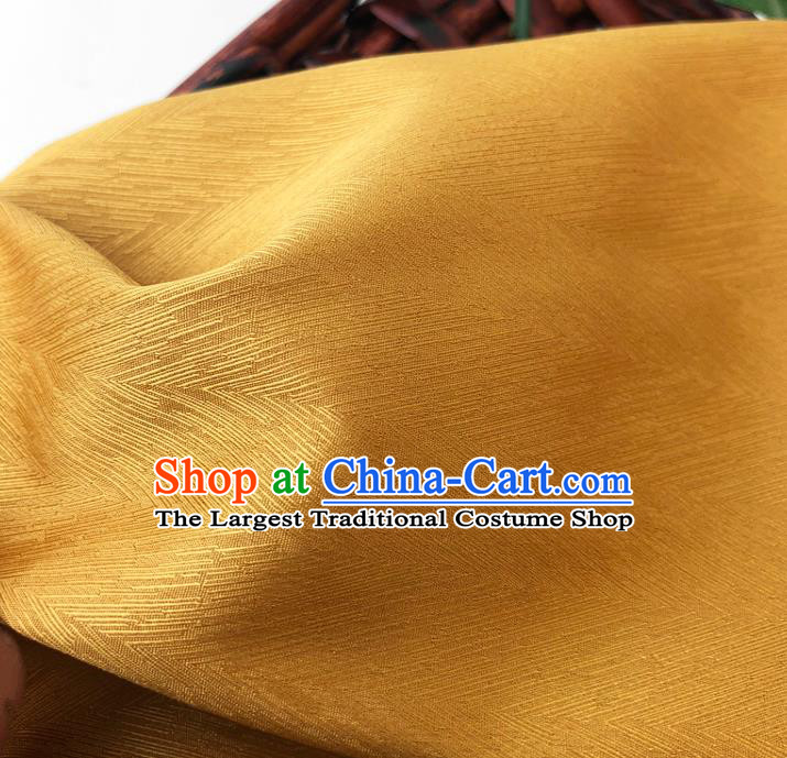 Top Quality Chinese Yellow Satin Fabric Traditional Asian Hanfu Dress Cloth Silk Material Traditional Jacquard Tapestry