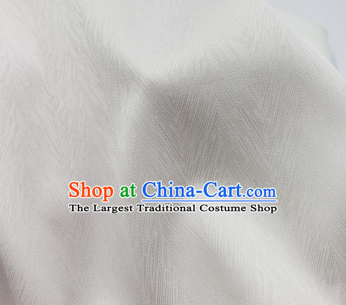 Top Quality Chinese White Satin Fabric Traditional Asian Hanfu Dress Cloth Silk Material Traditional Jacquard Tapestry