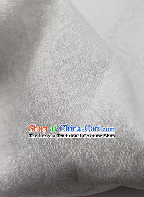 Top Quality Chinese Classical Androsace Pattern White Satin Fabric Traditional Asian Hanfu Dress Jacquard Cloth Silk Material Traditional Tapestry