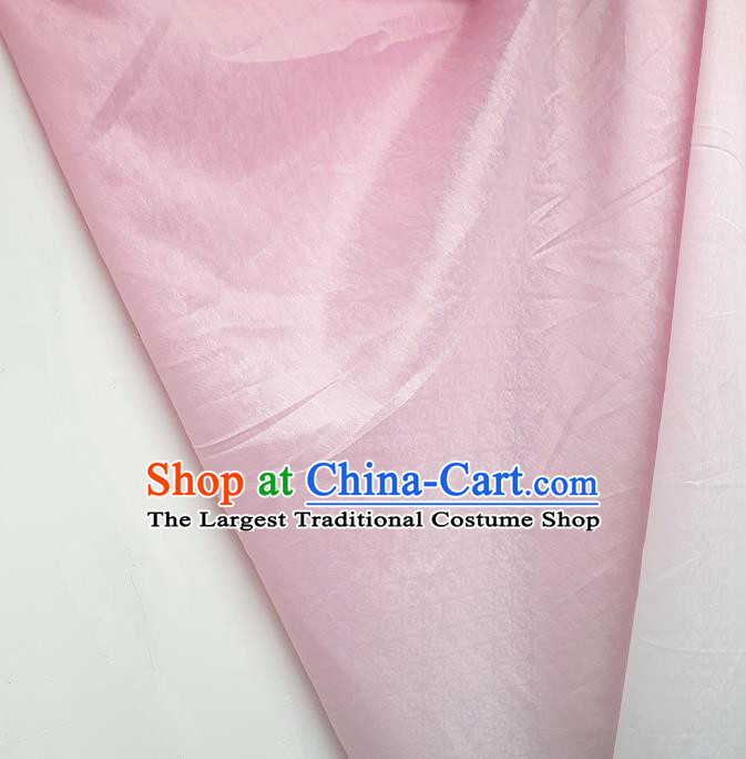 Top Quality Chinese Classical Androsace Pattern Pink Satin Fabric Traditional Asian Hanfu Dress Jacquard Cloth Silk Material Traditional Tapestry