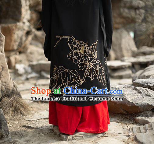 Chinese Ancient Swordsman Hanfu Garment Traditional Han Dynasty Noble Childe Embroidered Cape Blouse and Skirt Costumes for Men
