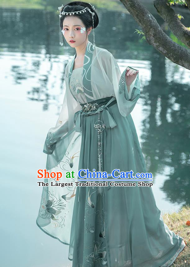 Traditional Chinese Tang Dynasty Civilian Female Hanfu Apparels Ancient Village Girl Embroidered Historical Costumes for Women