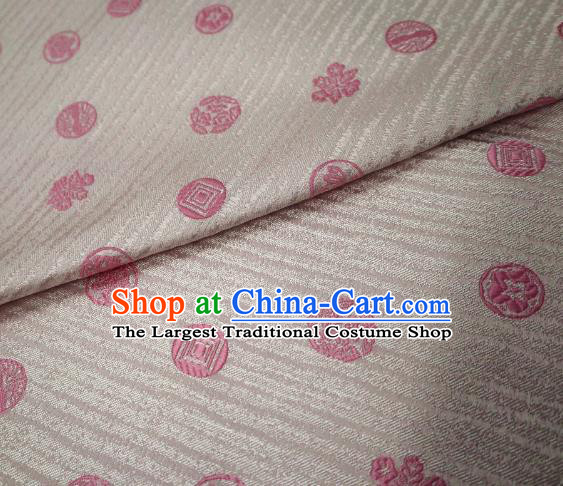 Top Quality Japanese Classical Pattern White Satin Material Asian Traditional Brocade Kimono Nishijin Tapestry Cloth Fabric
