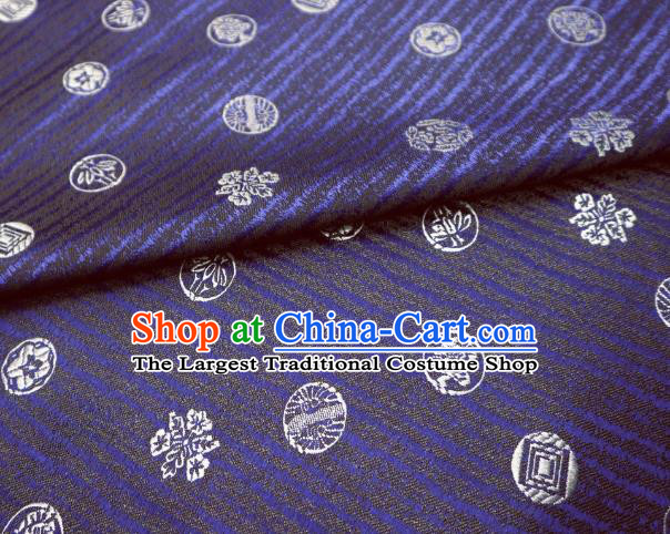 Top Quality Japanese Classical Pattern Navy Satin Material Asian Traditional Brocade Kimono Nishijin Tapestry Cloth Fabric