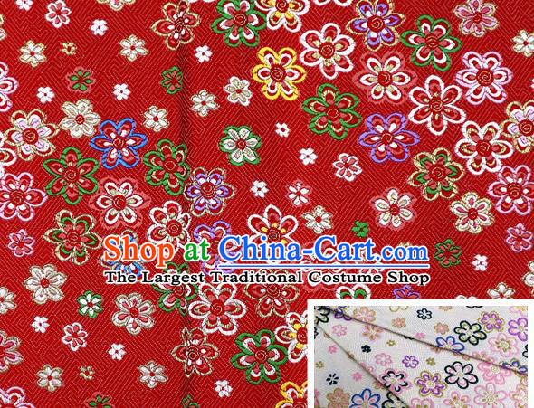 Top Quality Japanese Kimono Classical Pattern Tapestry Satin Material Asian Traditional Cloth Red Brocade Nishijin Fabric