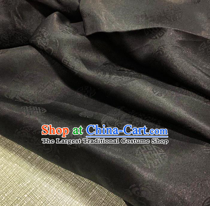 Chinese Traditional Dragon Phoenix Pattern Black Watered Gauze Asian Top Quality Silk Material Cloth Jacquard Fabric