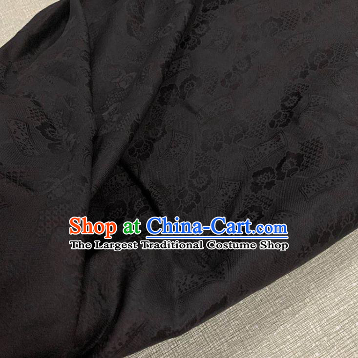 Chinese Traditional Peony Pattern Black Watered Gauze Asian Top Quality Silk Material Cloth Jacquard Fabric