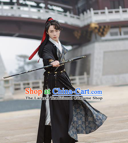 Chinese Ancient Tang Dynasty Swordsman Hanfu Garment Traditional Embroidered Black Robe Costumes for Men