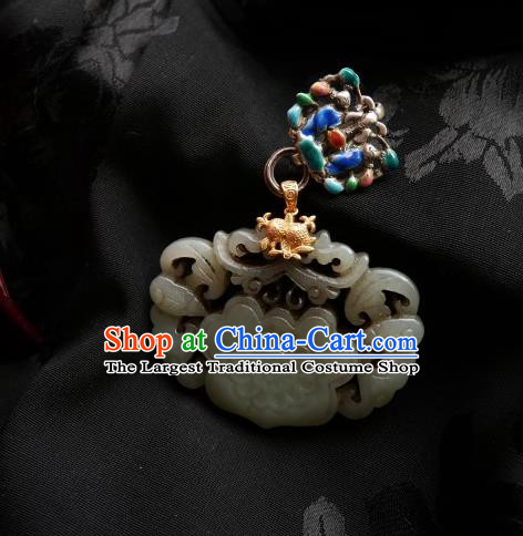 Chinese Classical Cheongsam Silver Jade Brooch Traditional Hanfu Accessories Handmade Cloisonne Breastpin Pendant for Women