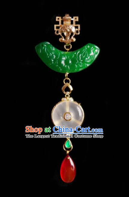 Chinese Classical Cheongsam Brass Brooch Traditional Hanfu Accessories Handmade Jade Breastpin Pendant for Women